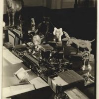 Margaret Bourke-White, Washington DC, President Franklin D. Roosevelt's Desk in the White House, December 24, 1934, vintage, warm-toned silver gelatin contact print on semi-matte, double-weight fibre paper, printed by January 14, 1937, 17 (17,7) x 12,1 (12,7) cm, ©Estate of Margaret Bourke-White/Licensed by VAGA, New York, NY