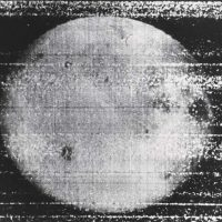 """Roskosmos Luna 3, """"First Picture of the Far Side of the Moon"""", October 7, 1959, silver gelatin print on glossy fibre paper, printed c. 1959, 17,7 (18,6/25,8) x 12,2 (13/22) cm, © Roskosmos, Courtesy Daniel Blau, Munich"""