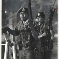 "Henry Herr Gill, ""Thai Troops"", 1979, silver gelatin print on glossy PE paper, recto retouching and airbrushing in gray gouache, printed 1979, ©Henry Herr Gill"